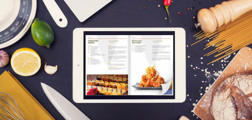 ipad with flipping book software on the kitchen worktop