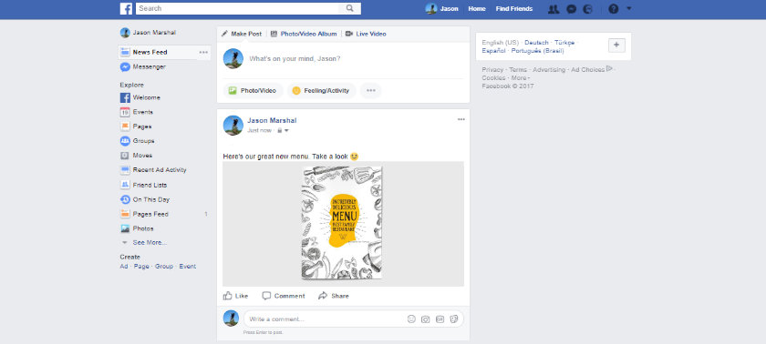 my menu as flipping book html5 embedded on Facebook